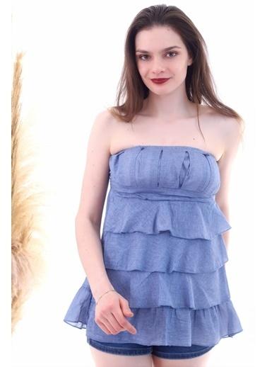 Cottonmood 20053022 Straplez Nervürlü Eteği Kat Kat Fırfırlı Indingo Bluz İndigo